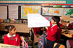 K-8 Parochial School Bronx New York Grade 5 social studies students working in small groups presenting results of discussion to class horizontal