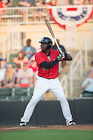 KJ Woods (24) of the Kannapolis Intimidators at bat against the Hagerstown Suns at Kannapolis Intimidators Stadium on July 4, 2016 in Kannapolis, North Carolina.  The Intimidators defeated the Suns 8-2.  (Brian Westerholt/Four Seam Images)