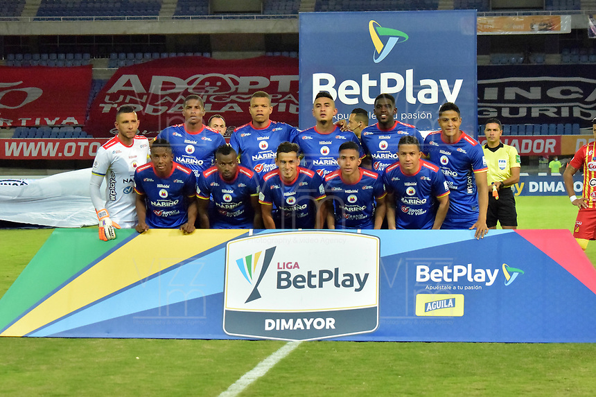 PEREIRA - COLOMBIA, 15-11-2020: Jugadores del Pasto posan para una foto previo al partido por la fecha 20 de la Liga BetPlay DIMAYOR 2020 entre Deportivo Pereira y Deportivo Pasto jugado en el estadio Hernan Ramirez Villegas en Pereira. / Players of Pasto pose to a photo prior match for the for the date 20 as part of BetPlay DIMAYOR League 2020 between Deportivo Pereira and Deportivo Pasto played at Hernan Ramirez Villegas stadium in Pereira city.  Photo: VizzorImage / Pablo Bohorquez / Cont