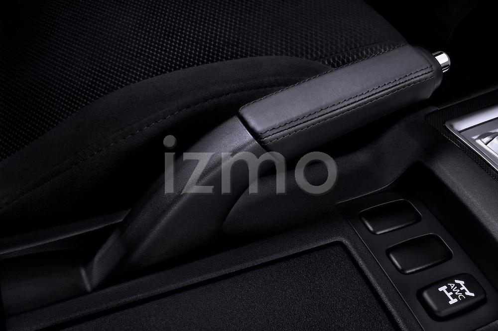 Closeup of a hand brake on a 2010 Mitsubishi Lancer Sportback