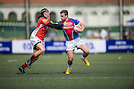 BGC Asia Pacific Dragons (in red) defeat A-Trade Overseas Old Boys (in pink and blue) 7 to 5 during GFI HKFC Rugby Tens 2016 on 06 April 2016 at Hong Kong Football Club in Hong Kong, China. Photo by Juan Manuel Serrano / Power Sport Images