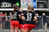Canterbury team celebrates a goal during the ISPS Handa Women's Premiership - Capital Football v Canterbury Utd Pride at Petone Memorial Park, Wellington on Saturday 5 December 2020.<br /> Copyright photo: Masanori Udagawa /  www.photosport.nz