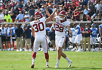 Arkansas Cam Little (29) reacts following an extra point kick, Saturday, October 9, 2021 during the fourth quarter of a football game at Vaught Hemingway Stadium in Oxford, Miss. Check out nwaonline.com/211010Daily/ for today's photo gallery. <br /> (NWA Democrat-Gazette/Charlie Kaijo)