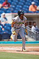 Yordys Valdes (7) of the Lynchburg Hillcats hustles down the first base line against the Kannapolis Cannon Ballers at Atrium Health Ballpark on August 29, 2021 in Kannapolis, North Carolina. (Brian Westerholt/Four Seam Images)
