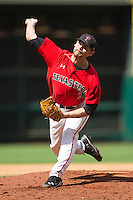 Texas Tech Red Raiders starting pitcher Matt Withrow #35 delivers a pitch to the plate against the Sam Houston State Bearkats at Minute Maid Park on March 1, 2014 in Houston, Texas.  The Bearkats defeated the Red Raiders 10-6.  (Brian Westerholt/Four Seam Images)