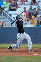Joe Tolone (31) (Emory & Henry) of the Concord A's follows through on his swing against the Mooresville Spinners at Moor Park on July 31, 2020 in Mooresville, NC. The Spinners defeated the Athletics 6-3 in a game called after 6 innings due to rain. (Brian Westerholt/Four Seam Images)