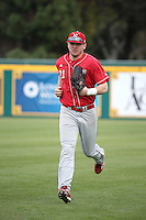 Ryan Boldt (21) of the Nebraska Cornhuskers during a game against the Long Beach State Dirtbags in the first game of a doubleheader at Blair Field on March 5, 2016 in Long Beach, California. Long Beach State defeated Nebraska, 1-0. (Larry Goren/Four Seam Images)