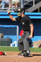 Umpire Shane Livensparger during a game at Dwyer Stadium in Batavia, New York;  July 25, 2010.  Photo By Mike Janes/Four Seam Images