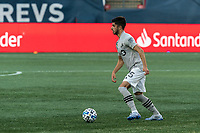 FOXBOROUGH, MA - SEPTEMBER 23: Emanuel Maciel #25 of Montreal Impact looks to pass during a game between Montreal Impact and New England Revolution at Gillette Stadium on September 23, 2020 in Foxborough, Massachusetts.