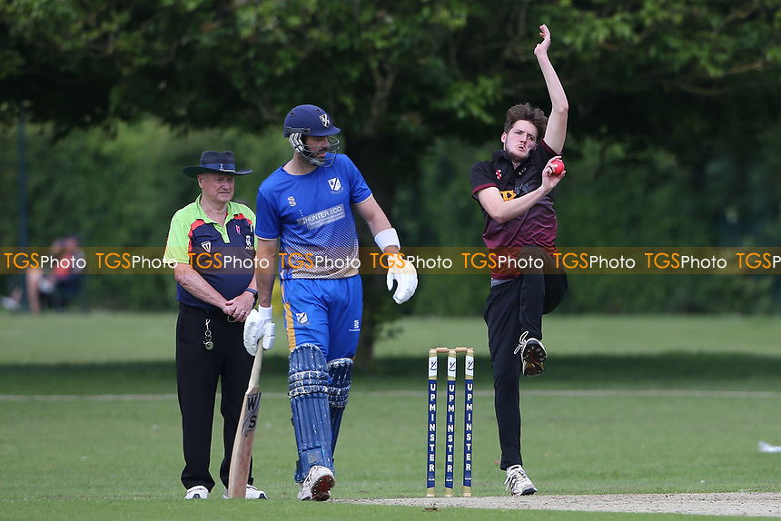 B Waine in bowling action for Fives during Upminster CC vs Fives & Heronians CC, Hamro Foundation Essex League Cricket at Upminster Park on 5th June 2021