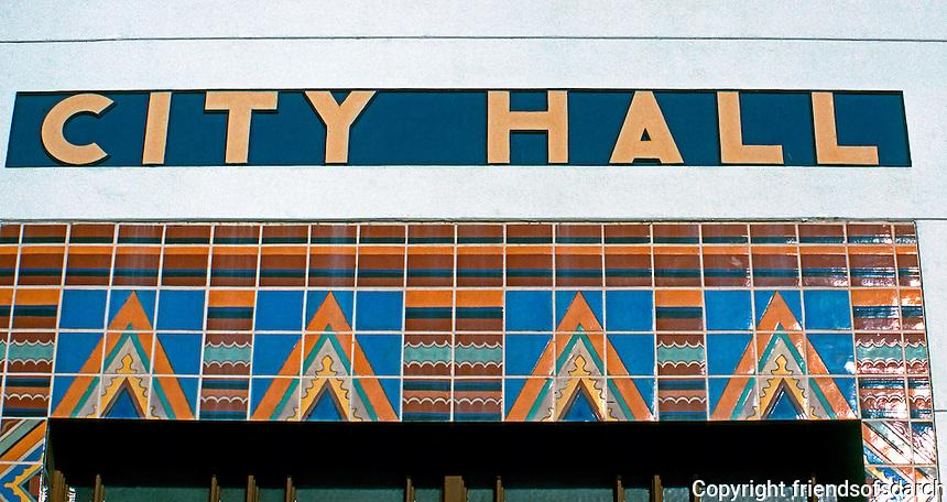 Santa Monica CA: Santa Monica City Hall. Detail--Tile Patterns, Entrance. Donald B. Parkinson & J. M. Estep, 1938-39. Photo '92.