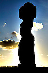 Moai of Ahu Tahai at sunset on Easter Island, Chile.