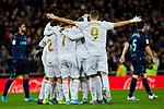 Players of Real Madrid celebrate goal during La Liga match between Real Madrid and Real Sociedad at Santiago Bernabeu Stadium in Madrid, Spain. November 23, 2019. (ALTERPHOTOS/A. Perez Meca)