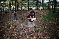 Leslie Noriega, 11, and other sixth grade students from Roger Williams Middle School in Providence, Rhode Island, walk along a trail at the Powder Mill Ledges Wildlife Refuge in Smithfield, Rhode Island, on Oct. 20, 2011. The students are part of the EcoExplorer program run by the Providence After School Alliance, which helps to kids in learning environments outside of school time.  The students make a weekly visit to the refuge, operated by the Rhode Island Audubon Society, to learn about nature and ecology.<br /> <br /> <br /> M. Scott Brauer for Education Week