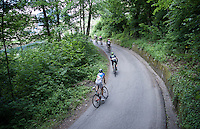 first group (behind the race leaders) up corner 31 of the Passo Del Mortirolo (1854m)<br /> <br /> stage 16: Pinzolo - Aprica (174km) of the 2015 Giro d'Italia