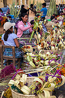 Antigua, Guatemala. Women Making and Selling  Decorations for Palm Sunday.
