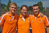 Austria, Kitzbühel, Juli 18, 2015, Tennis,  Junior Davis Cup, Ltr: Bart Stevens, coach Martijn Voorbaak and Guy den Heijer (NED)<br /> Photo: Tennisimages/Henk Koster