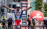 Niccolò Bonifazio (ITA/TotalEnergies) wins the bunch sprint <br /> <br /> 55th Grote Prijs Jef Scherens - Rondom Leuven 2021 (BEL)<br /> One day race from Leuven to Leuven (190km)<br /> ridden over the final circuit of the 2021 World Championships road races <br /> <br /> ©kramon