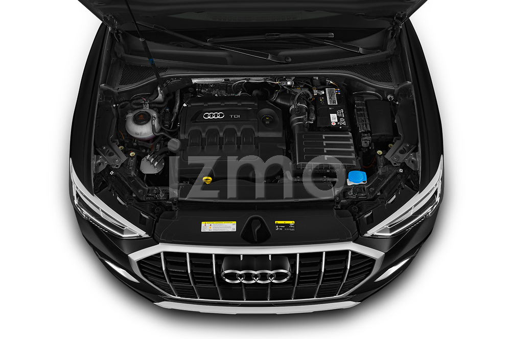 High angle engine detail of a 2019 Audi Q3  Advanced 5 Door SUV
