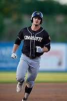 Charlotte Knights Adam Engel (11) running the bases during an International League game against the Syracuse Mets on June 11, 2019 at NBT Bank Stadium in Syracuse, New York.  Syracuse defeated Charlotte 15-8.  (Mike Janes/Four Seam Images)