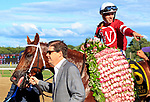 Gun Runner (no. 6) wins the Grade I 2017 Whitney Stakes  August 5 at Saratoga Race Course, Saratoga Springs, NY.  The winner, ridden by Florent Geroux and trained by Steven Asmussen, won by 5 lengths in the 1 1/8 mile race against 6 opponents.   Gun Runner finished the race with another horse's thrown shoe entangled in his tail. (Bruce Dudek/Eclipse Sportswire)