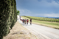 """grupetto over the final gravel sector of the day.<br /> <br /> 104th Giro d'Italia 2021 (2.UWT)<br /> Stage 11 from Perugia to Montalcino (162km)<br /> """"the Strade Bianche stage""""<br /> <br /> ©kramon"""