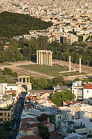 View of Temple of Zeus from Parthenon, Acropolis, Athens, Greece