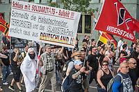 """Neonazis und Hooligans demonstrieren gegen Angela Merkel.<br /> Unter dem Motto """"Merkel muss weg"""" zogen ca. 1.200 am Samstag den 30. Juli 2016 mit einer Demonstration durch Berlin. Der Aufmarsch war vom einschlaegig bekannten Neonazi-Hooligan Enrico Stubbe angemeldet worden.<br /> Die Polizei hatte die Aufmarschroute der Rechten weitraeumig abgesperrt.<br /> Die Rechten forderten in Sprechchoeren immer wieder """"Nationalen Sozialismus! Jetzt!"""" (ein strafrechtlicher Trick, gemeint ist der Nationalsozialismus), beschimpften waehrend ihres Aufmarsches permanent Gegendemonstranten """"Wir kriegen euch alle"""" und """"Hurensoehne"""" und die Medienvertreter """"Luegenpresse"""". Mitarbeiter der Sicherheitsbehoerden erklaerten, dass es eindeutig ein rechtsextremer Aufmarsch gewesen sei bei dem sich keinerlei buergerliche Teilnehmer beteiligt haetten. Der Berliner Chef des Landesamt fuer Verfassungsschutz war persoenlich vor Ort um sich einen Eindruck zu verschaffen.<br /> 30.7.2016, Berlin<br /> Copyright: Christian-Ditsch.de<br /> [Inhaltsveraendernde Manipulation des Fotos nur nach ausdruecklicher Genehmigung des Fotografen. Vereinbarungen ueber Abtretung von Persoenlichkeitsrechten/Model Release der abgebildeten Person/Personen liegen nicht vor. NO MODEL RELEASE! Nur fuer Redaktionelle Zwecke. Don't publish without copyright Christian-Ditsch.de, Veroeffentlichung nur mit Fotografennennung, sowie gegen Honorar, MwSt. und Beleg. Konto: I N G - D i B a, IBAN DE58500105175400192269, BIC INGDDEFFXXX, Kontakt: post@christian-ditsch.de<br /> Bei der Bearbeitung der Dateiinformationen darf die Urheberkennzeichnung in den EXIF- und  IPTC-Daten nicht entfernt werden, diese sind in digitalen Medien nach §95c UrhG rechtlich geschuetzt. Der Urhebervermerk wird gemaess §13 UrhG verlangt.]"""