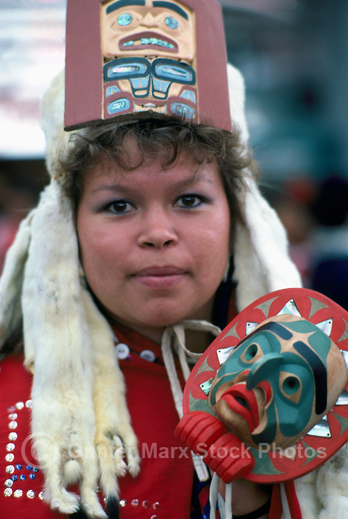 Portrait of Kwakwaka'wakw (Kwakiutl) Native American Indian Woman wearing Traditional Ceremonial Headdress and Regalia at Pow Wow, BC, British Columbia, Canada (No Model Release Available)