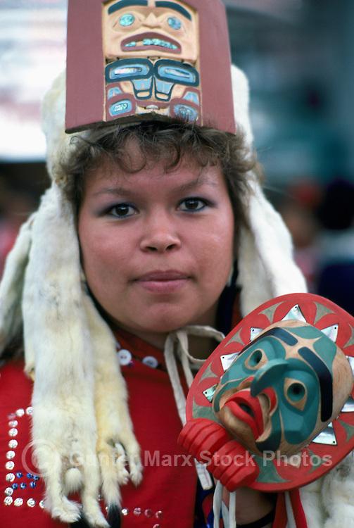 Portrait of Kwakwaka'wakw (Kwakiutl) Native American Indian Woman wearing Traditional Ceremonial Headdress and Regalia at Pow Wow, BC, British Columbia, Canada (No Model Release Available)