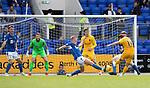 St Johnstone v Livingston….10.08.19      McDiarmid Park     SPFL <br />Steven Lawless scoreds Livvy's second goal<br />Picture by Graeme Hart. <br />Copyright Perthshire Picture Agency<br />Tel: 01738 623350  Mobile: 07990 594431