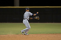 AZL Padres 1 shortstop Reinaldo Ilarraza (1) makes a throw to first base during an Arizona League game against the AZL Padres 2 at Peoria Sports Complex on July 14, 2018 in Peoria, Arizona. The AZL Padres 1 defeated the AZL Padres 2 4-0. (Zachary Lucy/Four Seam Images)