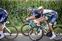 Mathieu van der Poel (NED/Alpecin-Fenix) & Taco van der Hoorn (NED/Intermarché - Wanty - Gobert Matériaux)<br /> <br /> Antwerp Port Epic / Sels Trophy 2021 (BEL)<br /> One day race from Antwerp to Antwerp (183km)<br /> <br /> The APC stands qualified as a 'road race', but with 36km of gravel and 28km of cobbled sections in and around the Port of Antwerp (BEL) this race occupies a unique spot in the Belgian race scene.<br /> <br /> ©kramon