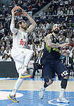 Real Madrid's Andres Nocioni (l) and Fenerbahce Istambul's Pero Antic during Euroleague Quarter-Finals 3rd match. April 19,2016. (ALTERPHOTOS/Acero)