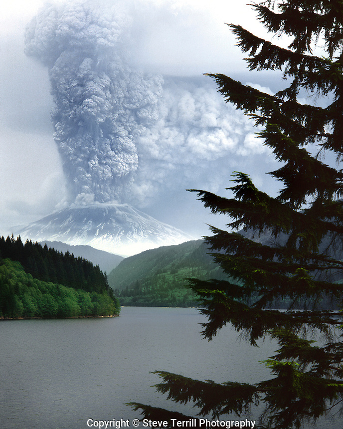 Mt St Helens from Yale Lake Washington in September 1980