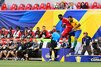 Harrison, NJ - Friday July 07, 2017: Alphonso Davies, Anthony Soubervie during a 2017 CONCACAF Gold Cup Group A match between the men's national teams of French Guiana (GUF) and Canada (CAN) at Red Bull Arena.