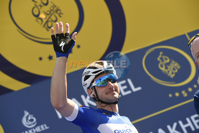Elia Viviani (ITA) Quick-Step Floors at sign on before the start of Stage 1 The Nakheel Stage of the Dubai Tour 2018 the Dubai Tour's 5th edition, running 167km from Skydive Dubai to Palm Jumeirah, Dubai, United Arab Emirates. 6th February 2018.<br /> Picture: LaPresse/Fabio Ferrari   Cyclefile<br /> <br /> <br /> All photos usage must carry mandatory copyright credit (© Cyclefile   LaPresse/Fabio Ferrari)