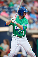 Hartford Yard Goats second baseman Brandon Bednar (39) at bat during a game against the Trenton Thunder on August 26, 2018 at Dunkin' Donuts Park in Hartford, Connecticut.  Trenton defeated Hartford 8-3.  (Mike Janes/Four Seam Images)