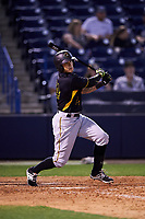 Bradenton Marauders third baseman Trace Tam Sing (24) follows through on a swing during a game against the Tampa Yankees on April 15, 2017 at George M. Steinbrenner Field in Tampa, Florida.  Tampa defeated Bradenton 3-2.  (Mike Janes/Four Seam Images)