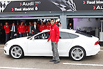 Real Madrid player Raphael Varane participates and receives new Audi during the presentation of Real Madrid's new cars made by Audi at the Jarama racetrack on November 8, 2012 in Madrid, Spain.(ALTERPHOTOS/Harry S. Stamper)