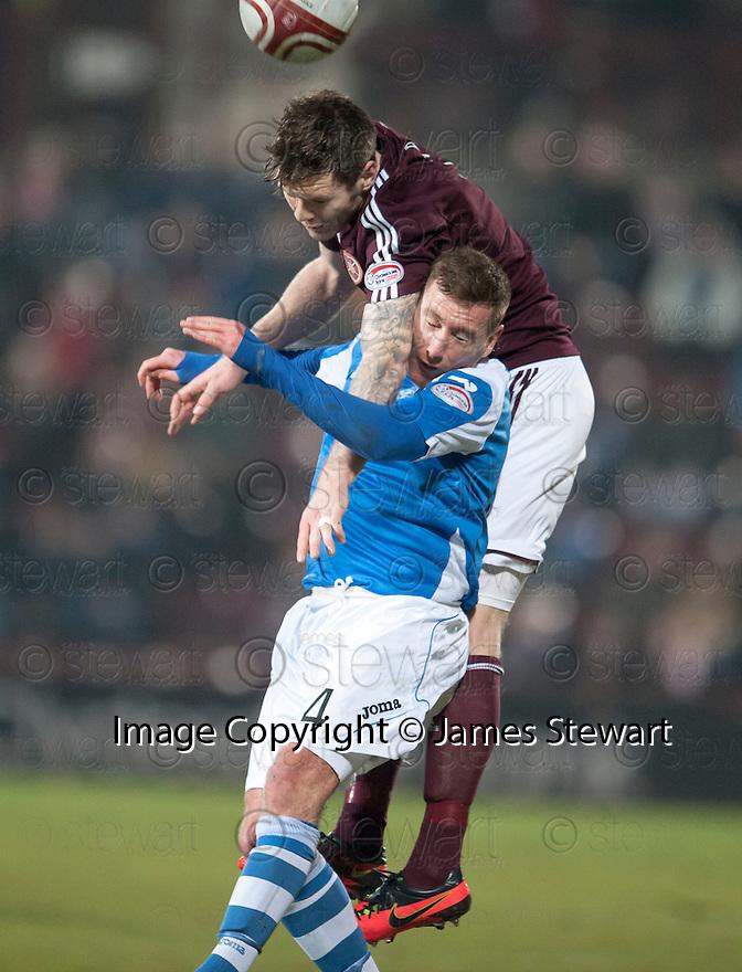 Hearts' Darren Barr gets above St Johnstone's Patrick Cregg.