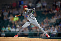Lehigh Valley IronPigs relief pitcher Pedro Beato (44) delivers a pitch during a game against the Rochester Red Wings on June 29, 2018 at Frontier Field in Rochester, New York.  Lehigh Valley defeated Rochester 2-1.  (Mike Janes/Four Seam Images)