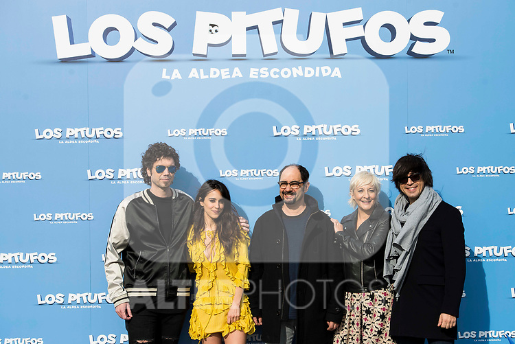 "Pablo Ibañez, Macarena Garcia, Jordi Sanchez, Eva Hache and Luis Piedranhita attends to the presentation of the film ""Ls Pitufos"" in Madrid. March 14, 2017. (ALTERPHOTOS/Borja B.Hojas)"