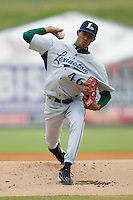Starting pitcher Juan Minaya #46 of the Lexington Legends in action against the Kannapolis Intimidators at Fieldcrest Cannon Stadium April 14, 2010, in Kannapolis, North Carolina.  Photo by Brian Westerholt / Four Seam Images