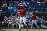 Nick Northcut (24) of the Salem Red Sox at bat against the Kannapolis Cannon Ballers at Atrium Health Ballpark on July 29, 2021 in Kannapolis, North Carolina. (Brian Westerholt/Four Seam Images)