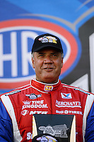 Sept. 14, 2012; Concord, NC, USA: NHRA funny car driver Johnny Gray during qualifying for the O'Reilly Auto Parts Nationals at zMax Dragway. Mandatory Credit: Mark J. Rebilas-