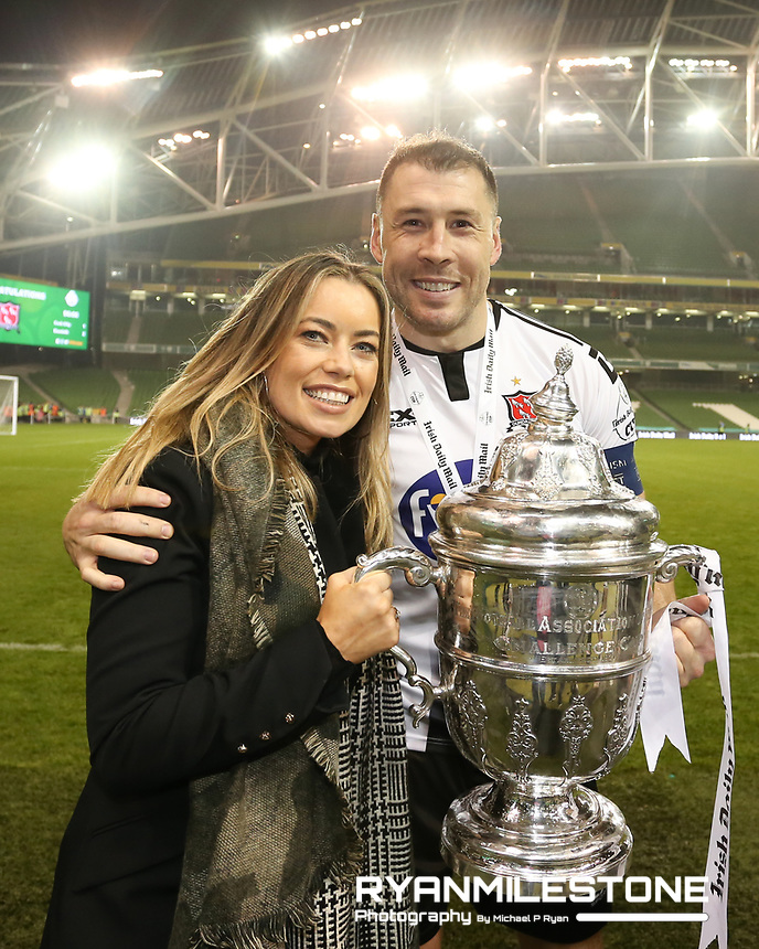 Brian Gartland celebrates with his wife at the end of the Irish Daily Mail FAI Cup Final between Dundalk and Cork City, on Sunday 4th November 2018, at the Aviva Stadium, Dublin. Mandatory Credit: Michael P Ryan.
