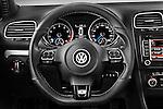 Steering wheel view of a 2011 Volkswagen Golf R 5 Door Hatchback Stock Photo