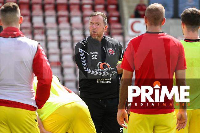 Fleetwood Town players warm up ahead of the 2018/19 Pre Season Friendly match between Morecambe and Fleetwood Town at the Globe Arena, Morecambe, England on 28 July 2018. Photo by James  Gill / PRiME Media Images.