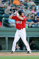 Right fielder Derek Miller (16) of the Greenville Drive bats in a game against the Charleston RiverDogs on Saturday, May 23, 2015, at Fluor Field at the West End in Greenville, South Carolina. Charleston won 5-4. (Tom Priddy/Four Seam Images)